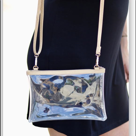 Stadium clear crossbody nude bag
